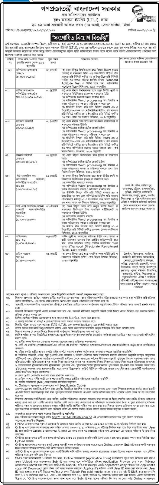 কর কমিশনার কার্যালয় নিয়োগ বিজ্ঞপ্তি ২০২০-Tax Commissioner's Office Job Circular 2020